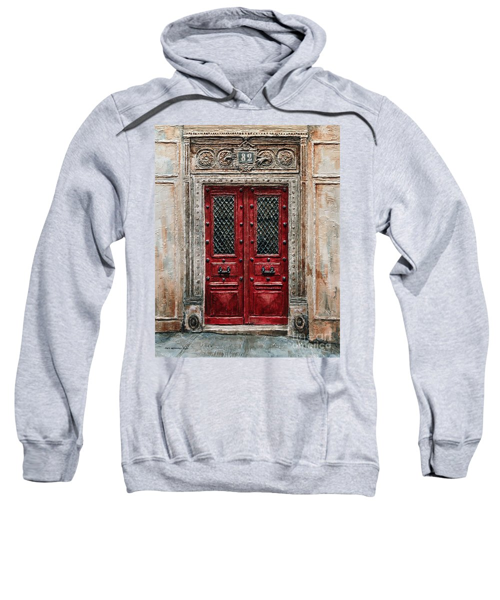 82 Sweatshirt featuring the painting Parisian Door No.82 by Joey Agbayani