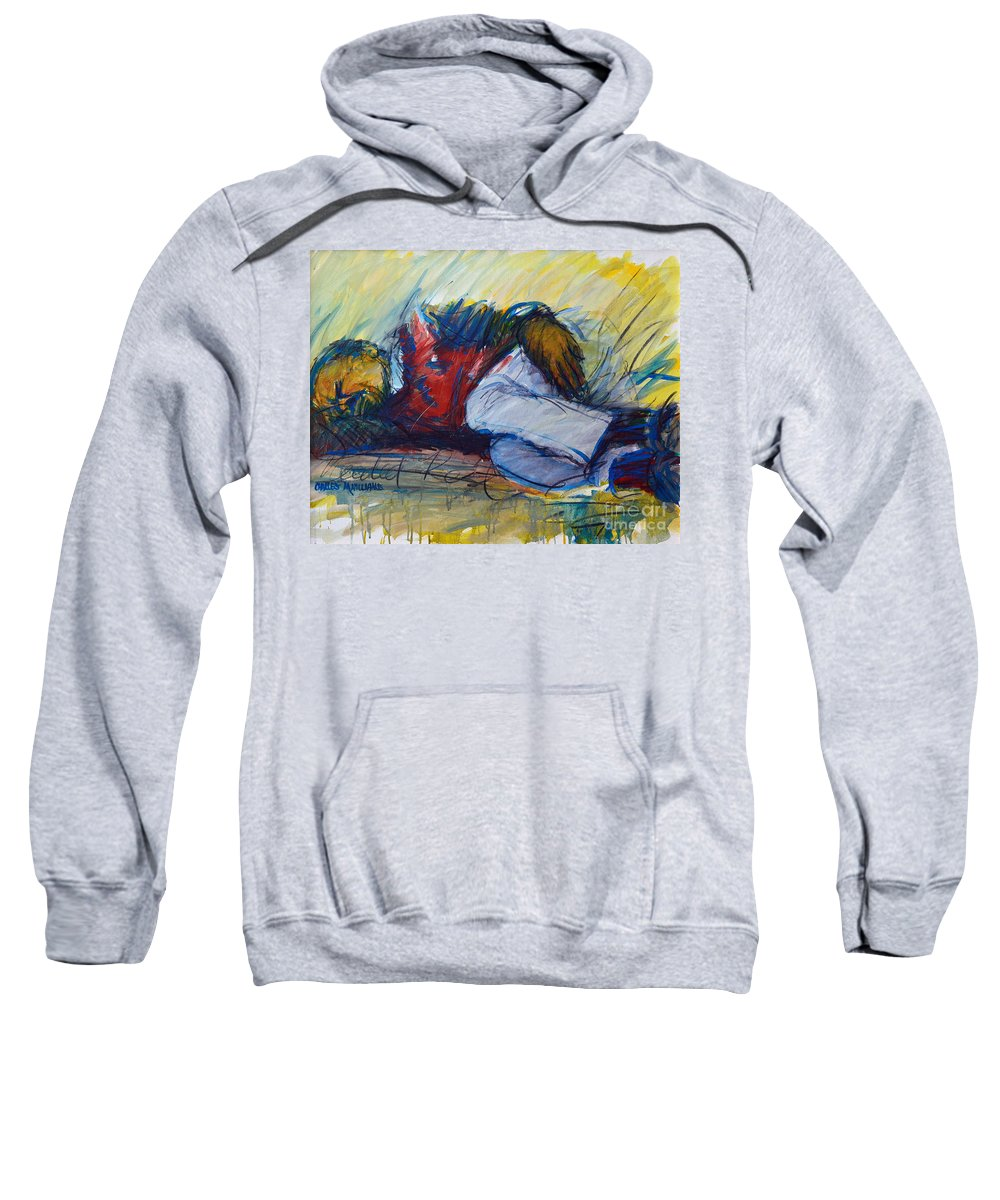 Sleep Sweatshirt featuring the painting Park Bench Sleeper by Charles M Williams