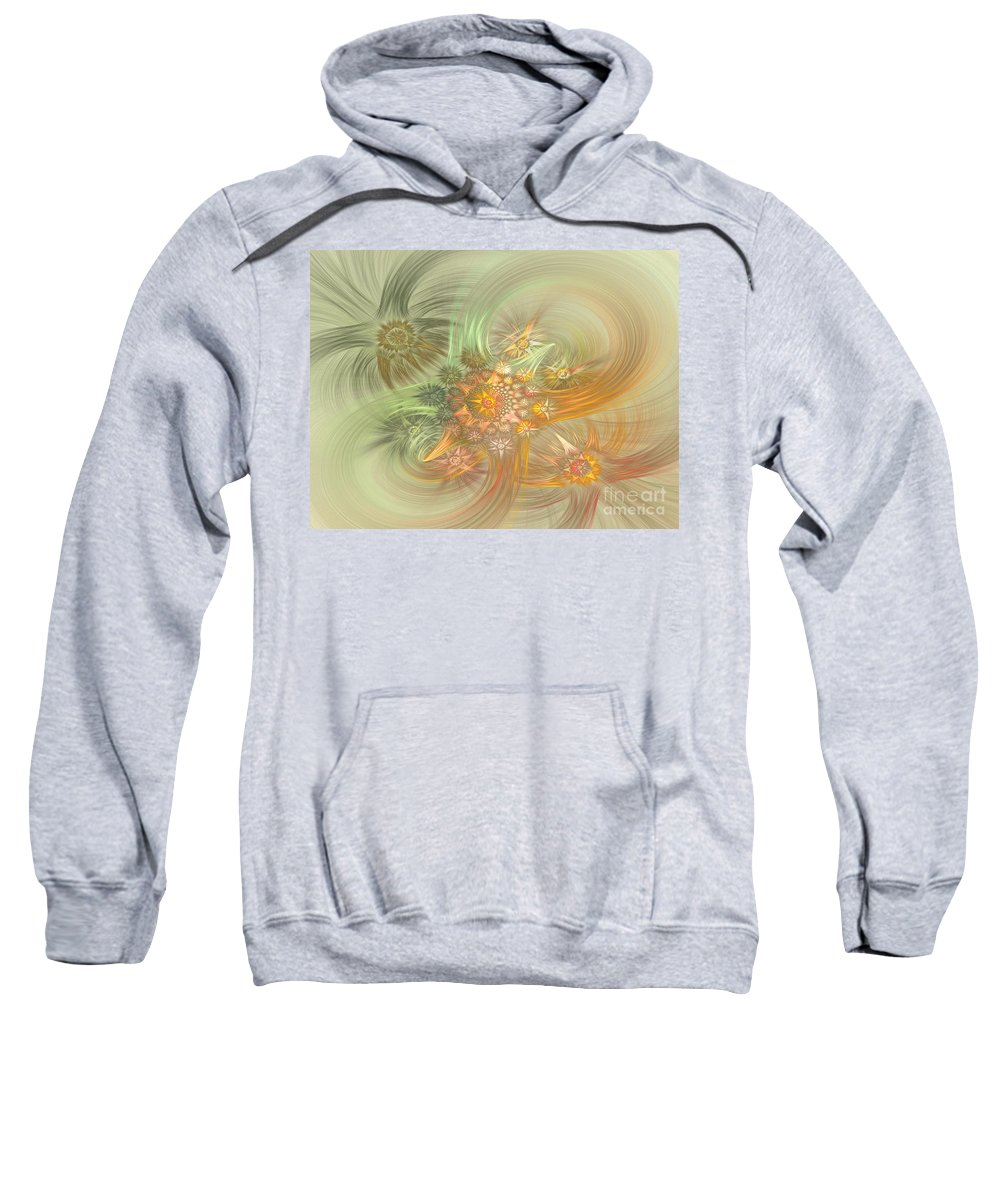 Fractal Sweatshirt featuring the digital art Pastel Delicate Pattern by Deborah Benoit