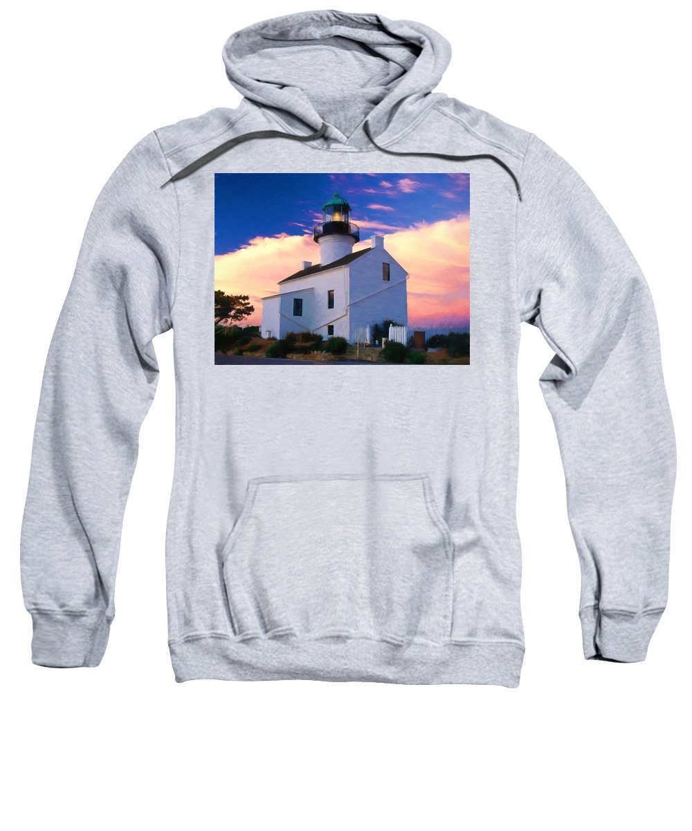 Lighthouse Point+loma Cabrillo+national+monument Sunsel Pastel+drawing Ocean California San+diego Sweatshirt featuring the painting Pastel Drawing Old Point Loma Lighthouse Cabrillo National Monument California by Elaine Plesser