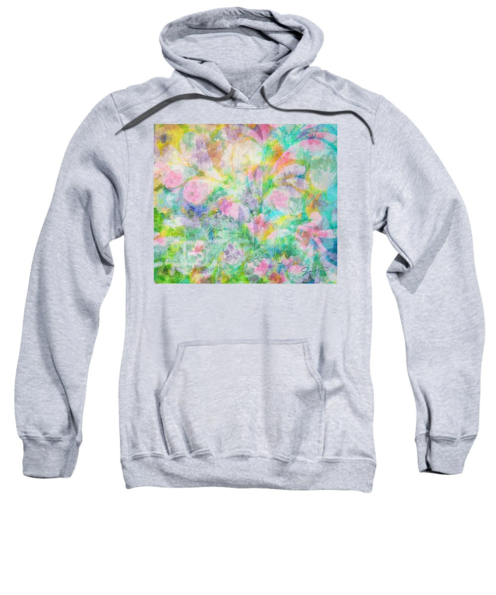 Pastels Sweatshirt featuring the painting Pastel Flowers By Jan Marvin by Jan Marvin