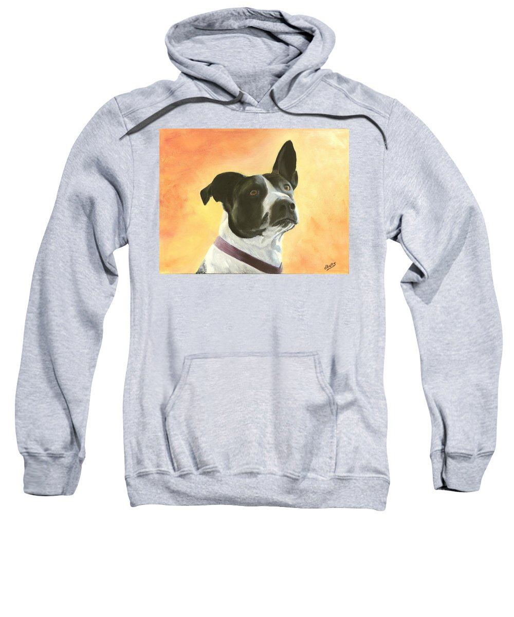 Dog Paintings Sweatshirt featuring the painting Patches by Deborah Butts