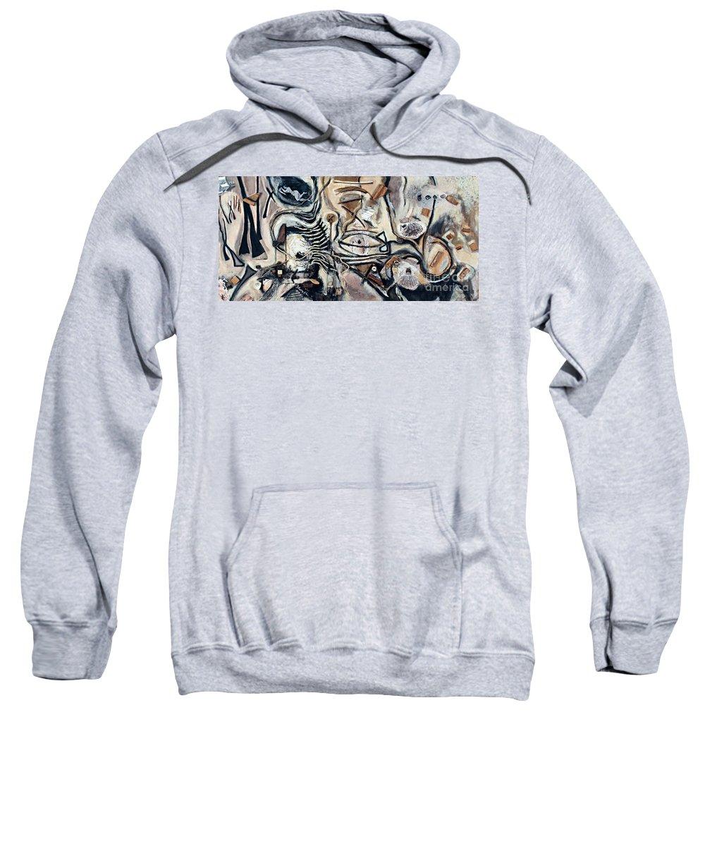 Charcoal Sweatshirt featuring the mixed media Pathway Of Journeys by Kerryn Madsen-Pietsch