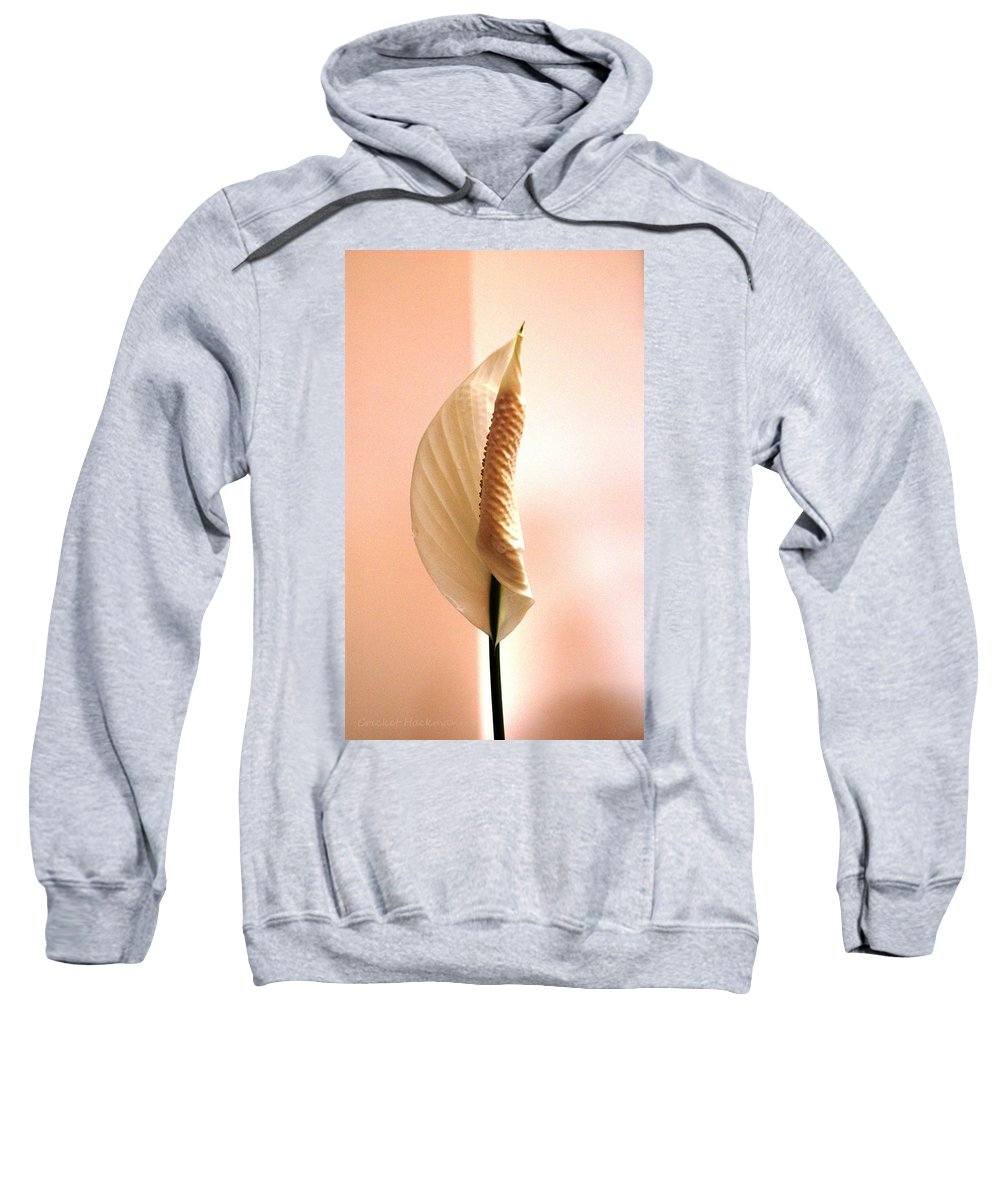 Peace Lily Sweatshirt featuring the photograph Peace Lily Awakening by Cricket Hackmann