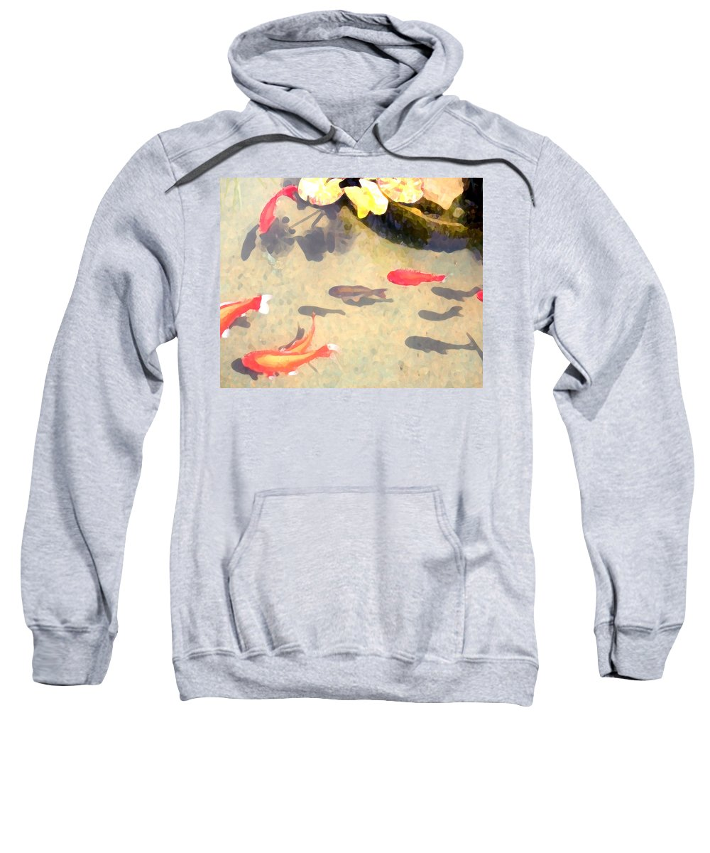 Fish Sweatshirt featuring the photograph Peaceful Day In The Pond by Jeanne A Martin