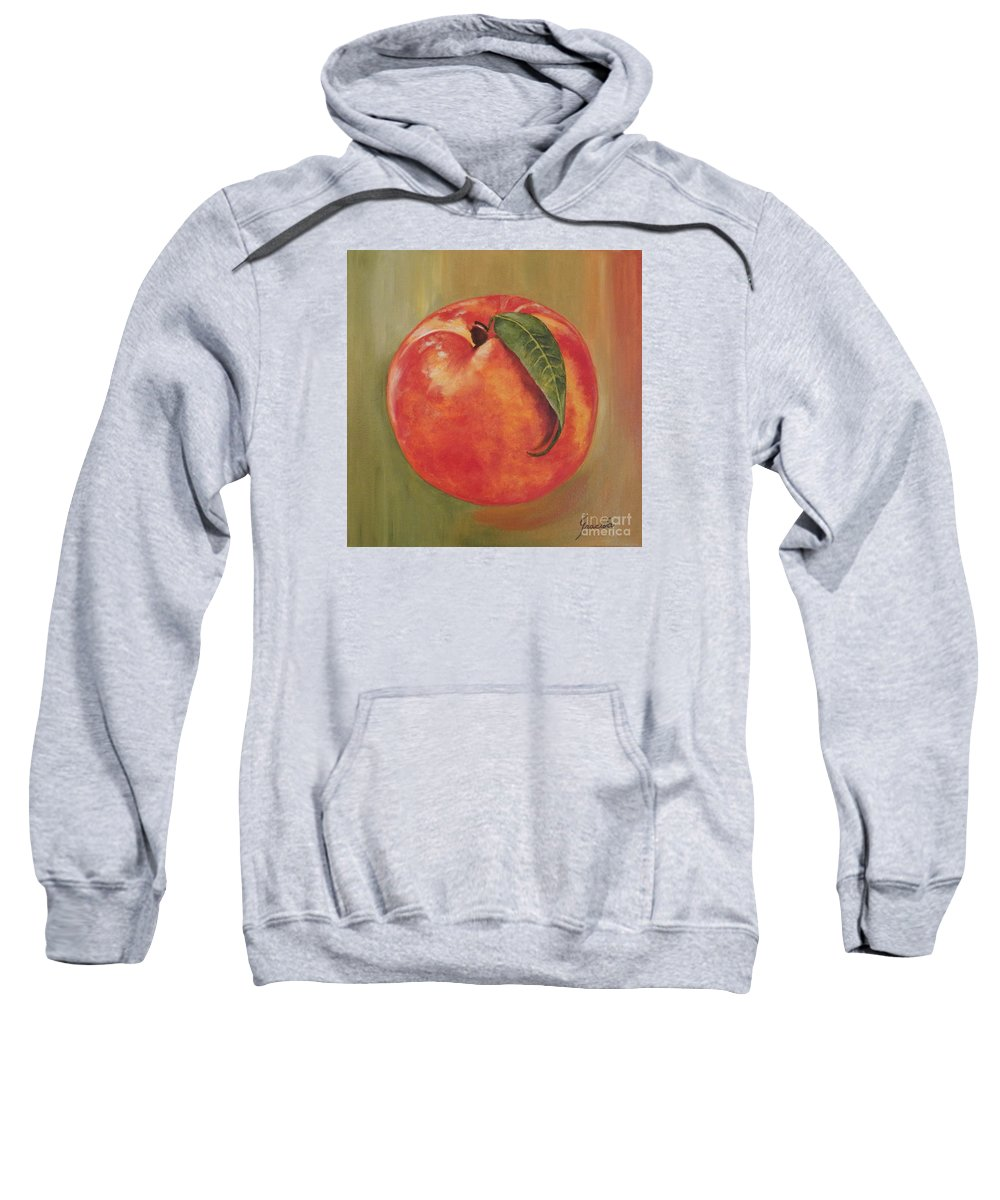 Peach Sweatshirt featuring the painting Peach by Graciela Castro