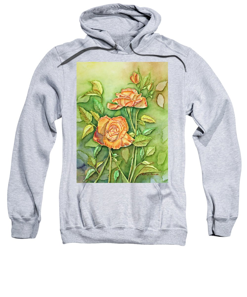 Roses Sweatshirt featuring the painting Autumn Roses by Kathryn Duncan
