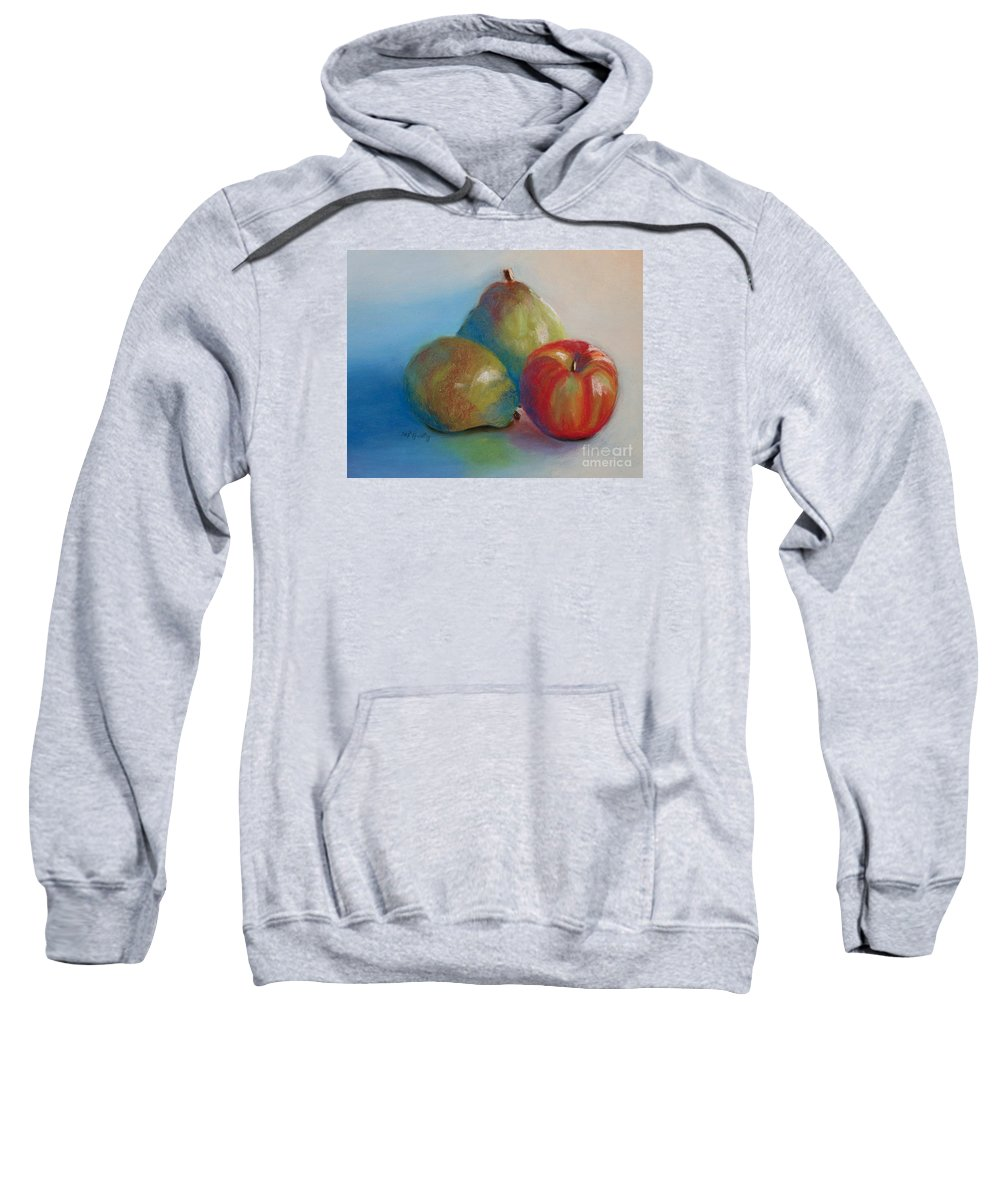 Pastel Sweatshirt featuring the painting Pears And Apple by Marilyn Healey