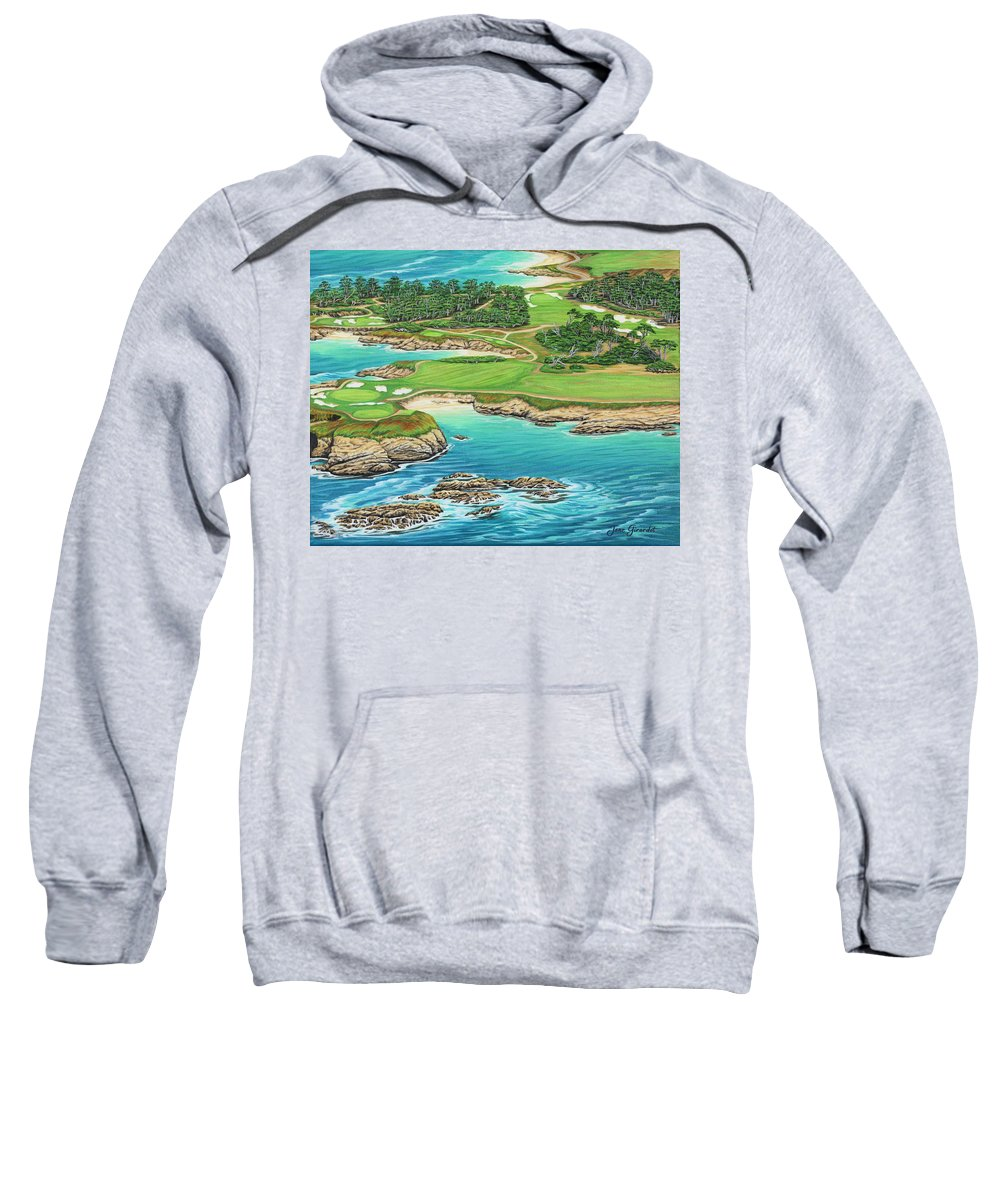 Ocean Sweatshirt featuring the painting Pebble Beach 15th Hole-south by Jane Girardot