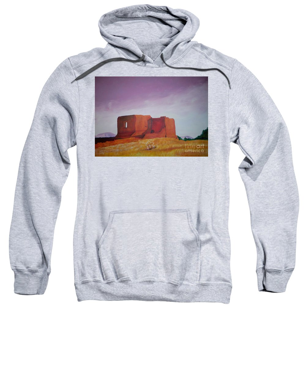 Western Sweatshirt featuring the painting Pecos Mission Landscape by Eric Schiabor