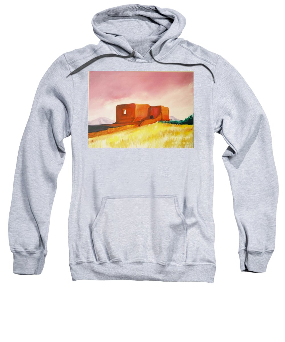 Western Landscapes Sweatshirt featuring the painting Pecos Mission Nm by Eric Schiabor