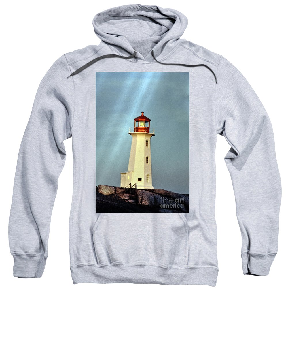 Peggy's Cove Lighthouse Sweatshirt featuring the photograph Peggy's Cove Lighthouse 2 by Lydia Holly