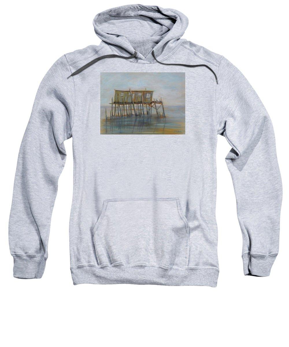 cedar Key Sweatshirt featuring the painting Pelican House In Cedar Kay by Patty Weeks