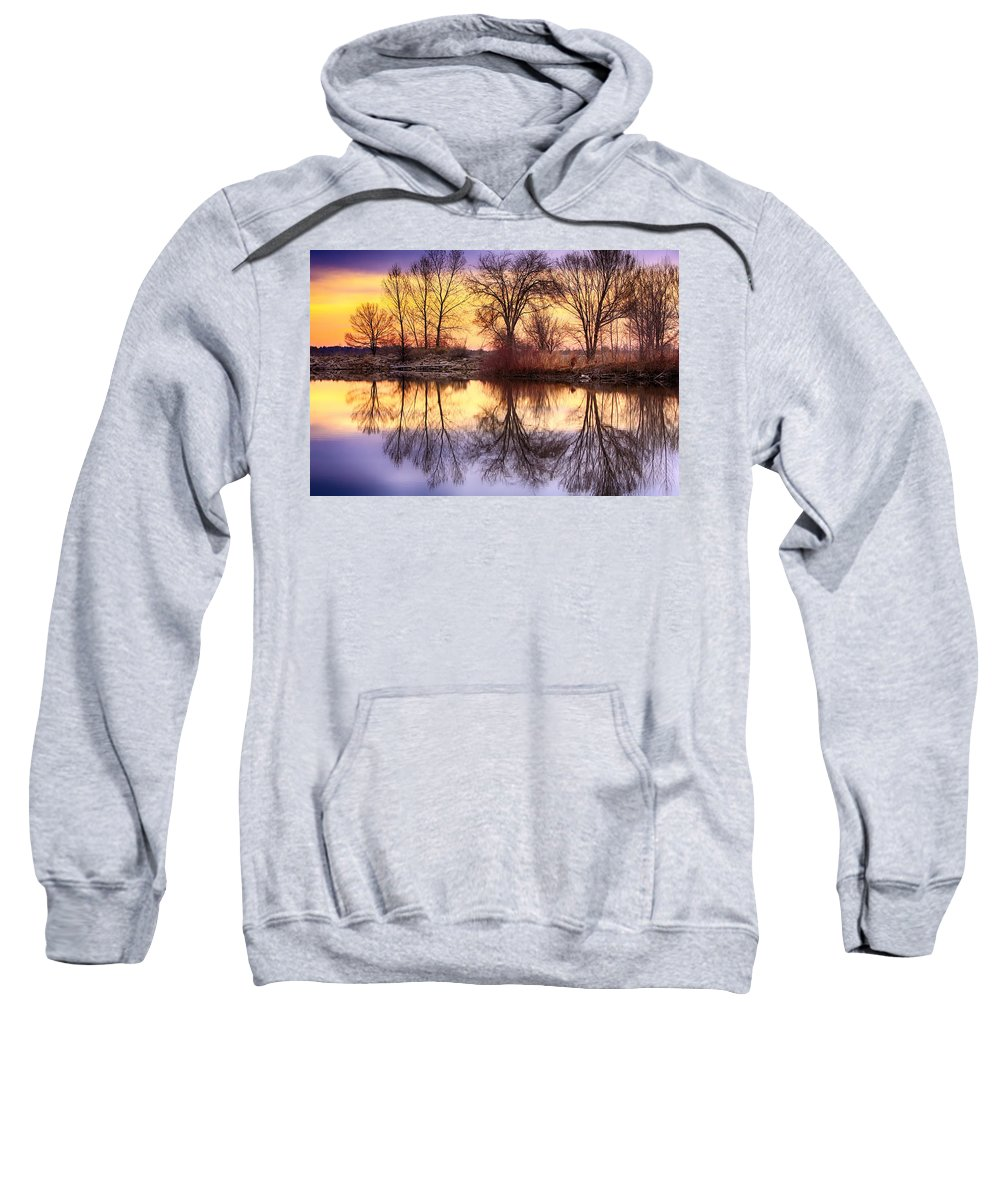 Sunrise Sweatshirt featuring the photograph Pella Crossing Sunrise Reflections Hdr by James BO Insogna