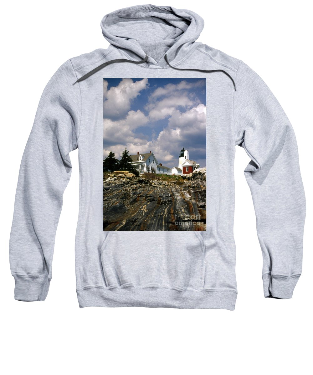 Lighthouses Sweatshirt featuring the photograph Pemaquid Rocks by Skip Willits