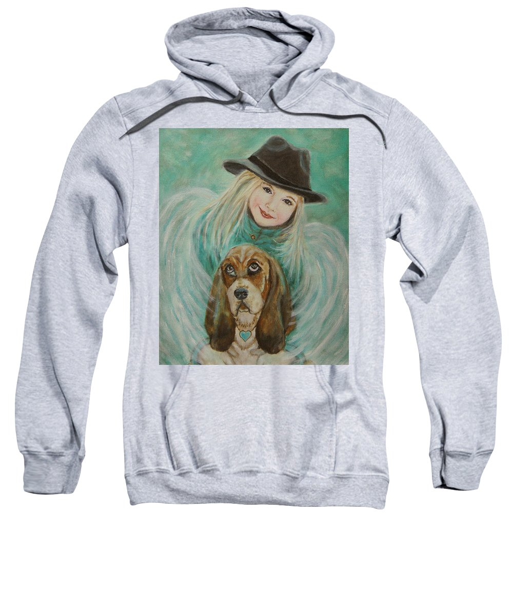 Angel Sweatshirt featuring the painting Penelope And Charlie Little Angel Of Faith And Loyalty by The Art With A Heart By Charlotte Phillips