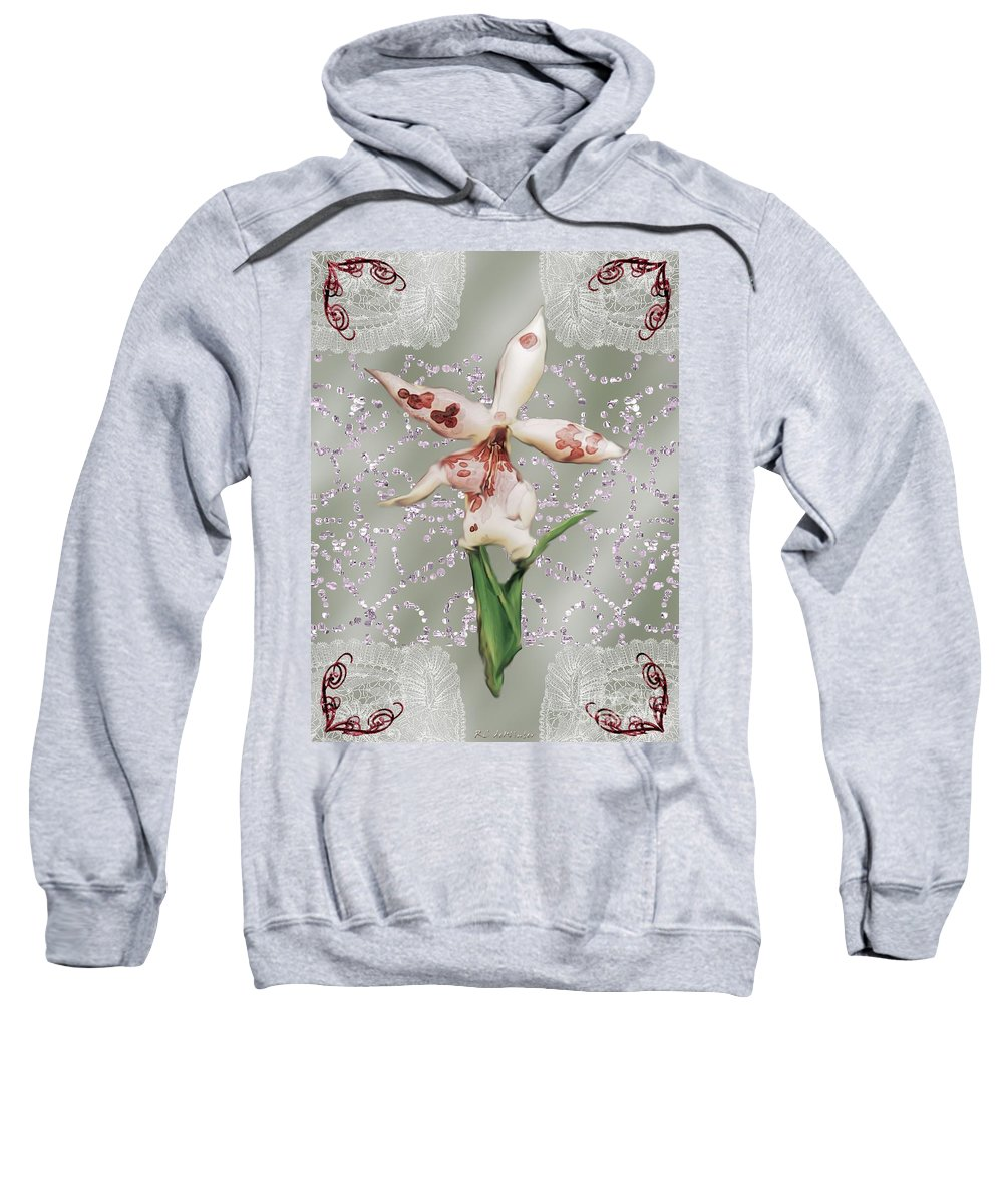 Orchid Sweatshirt featuring the painting Penny Postcard Exotica by RC DeWinter