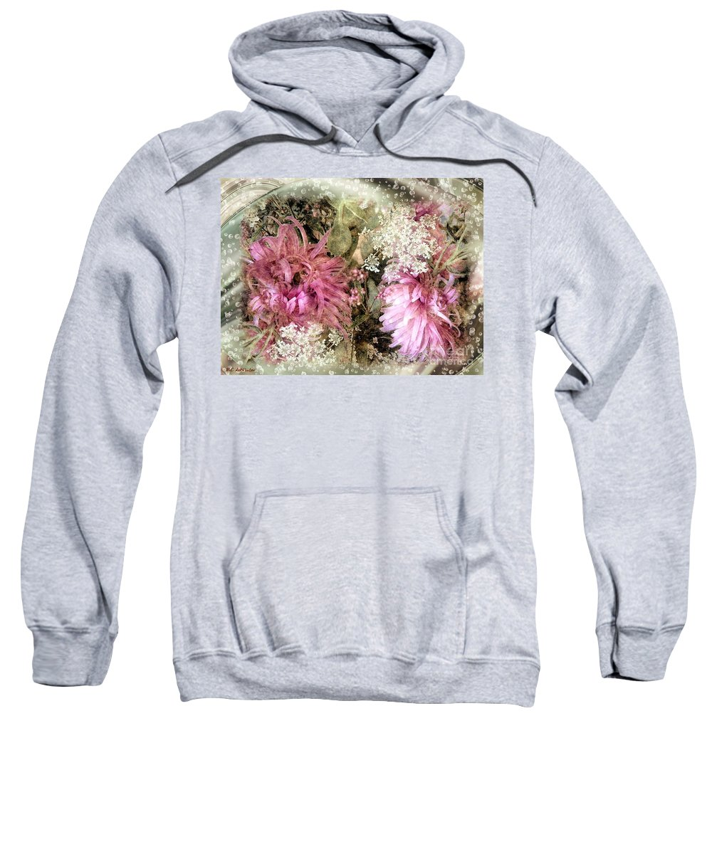 Flowers Sweatshirt featuring the painting Penny Postcard Pearlescent by RC DeWinter