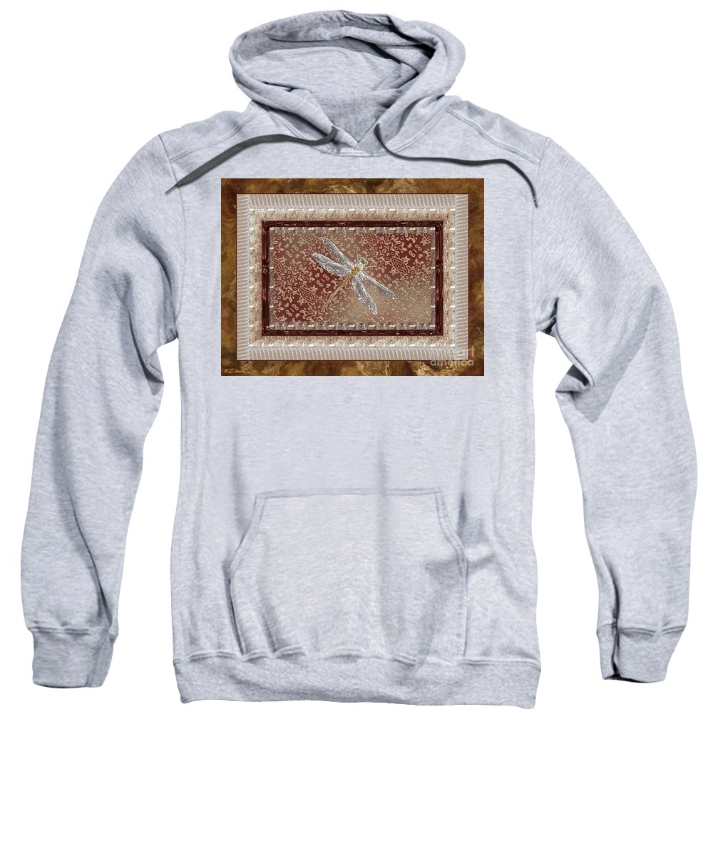 Dragonfly Sweatshirt featuring the painting Penny Postcard Sophisticated by RC DeWinter