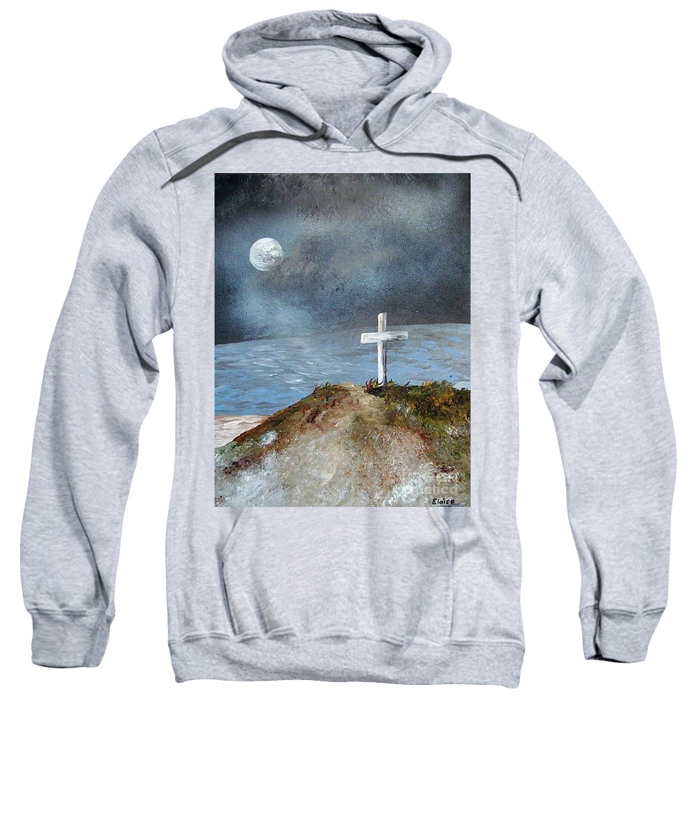 Cross Sweatshirt featuring the painting Pensacola Beach By The Light Of The Moon by Eloise Schneider Mote
