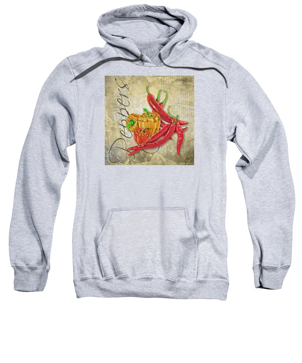 Pepper Sweatshirt featuring the digital art Peppers by Anita Hubbard