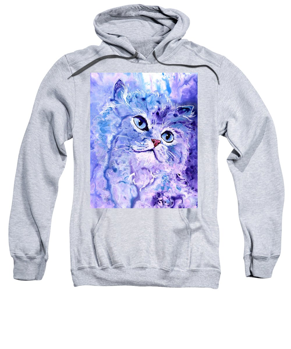 Cat Sweatshirt featuring the painting Persian Blue by Sherry Shipley