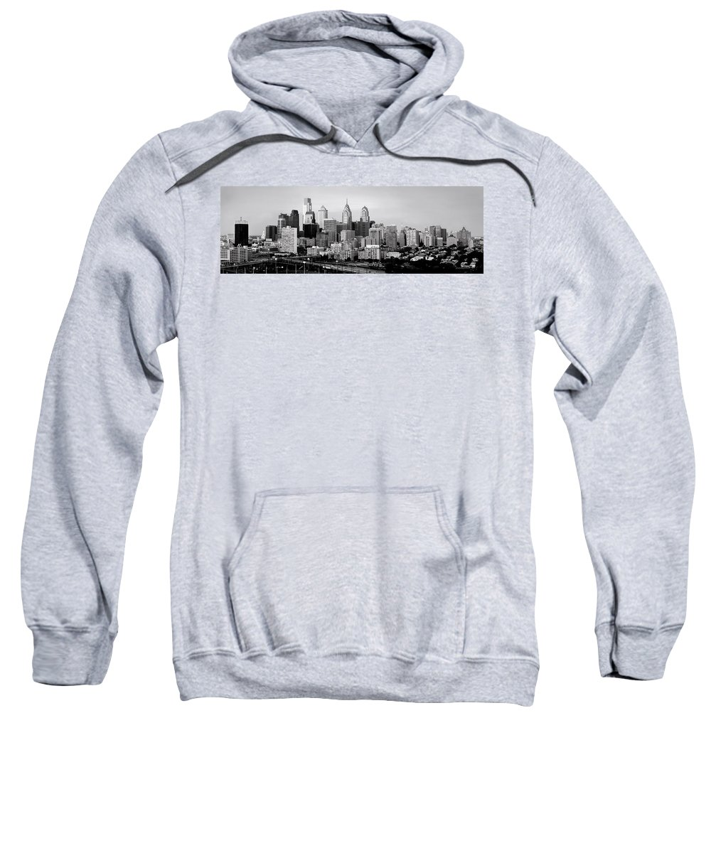 Philadelphia Skyline At Dusk Sweatshirt featuring the photograph Philadelphia Skyline Black And White Bw Pano by Jon Holiday
