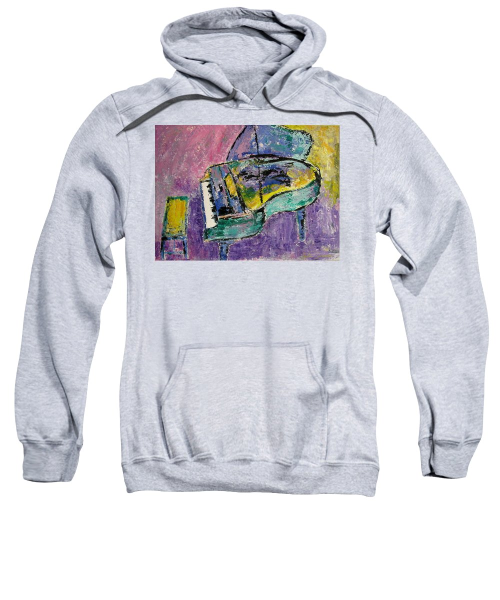 Impressionist Sweatshirt featuring the painting Piano Green by Anita Burgermeister