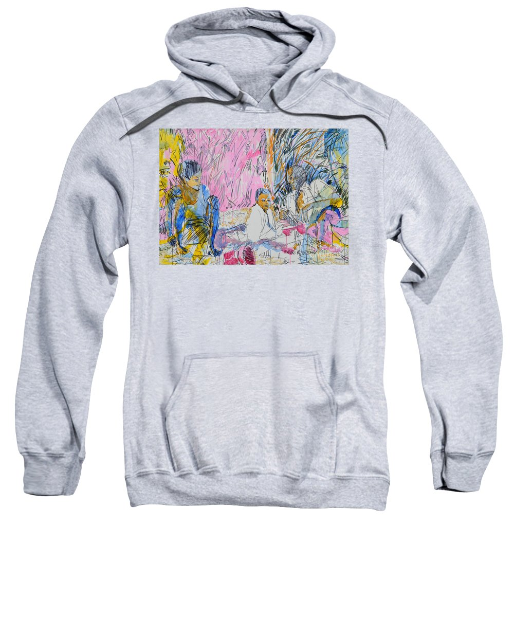 Picnic Sweatshirt featuring the painting Picnic On The Beach by Charles M Williams