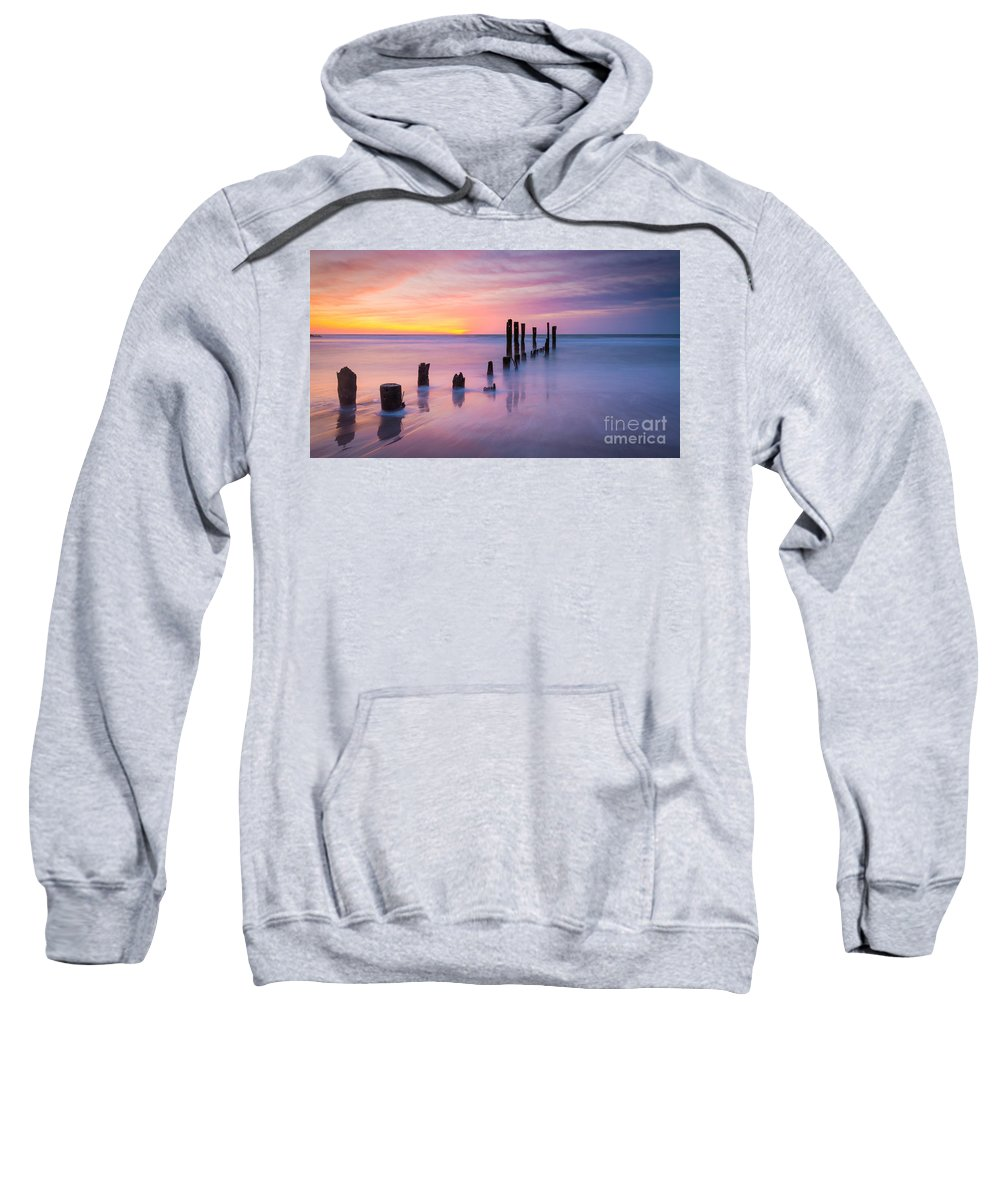 Milky Way Mike Sweatshirt featuring the photograph Pier Into The Past 16x9 by Michael Ver Sprill