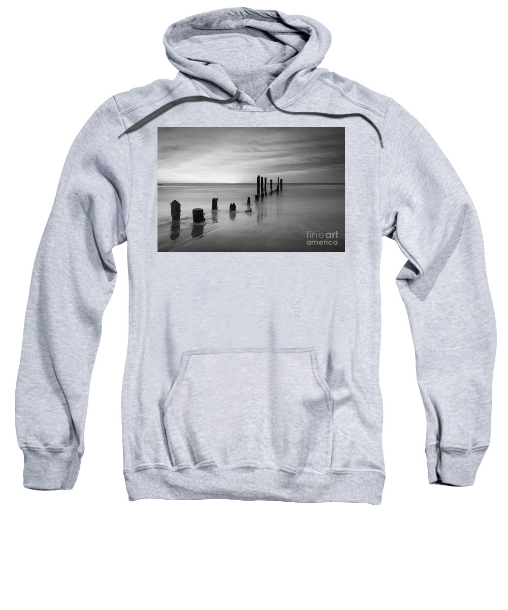 Milky Way Mike Sweatshirt featuring the photograph Pier Into The Past Black And White by Michael Ver Sprill