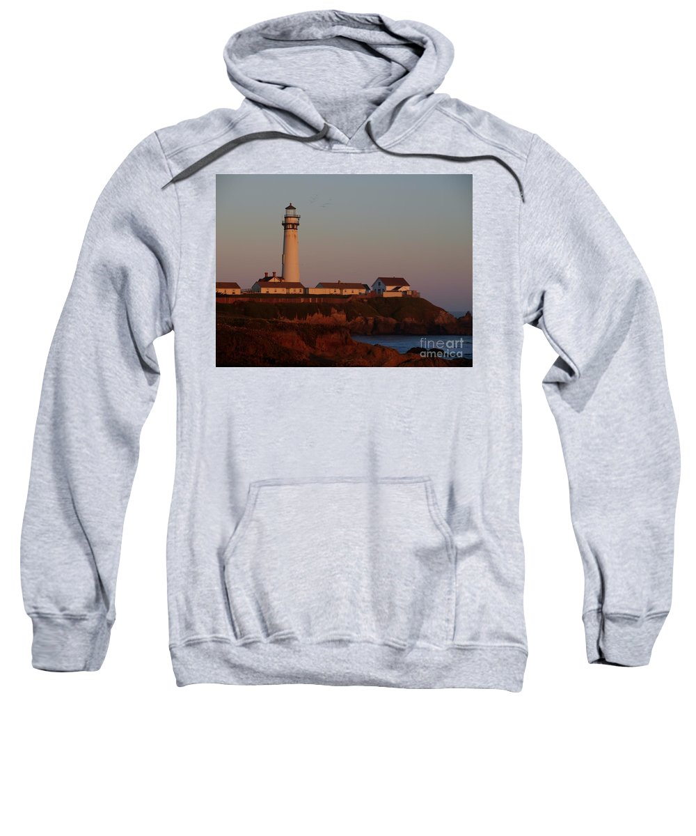 Lighthouse Sweatshirt featuring the photograph Pigeon Point Lighthouse At Sunset by Jacklyn Duryea Fraizer