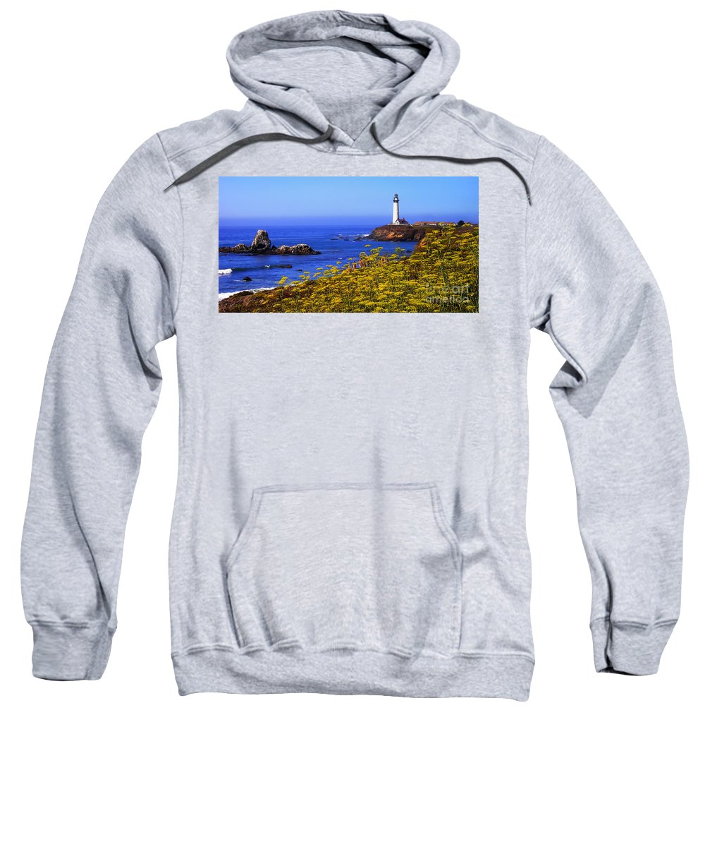 Pigeon Point Sweatshirt featuring the photograph Pigeon Point Lighthouse Panoramic by Mike Nellums