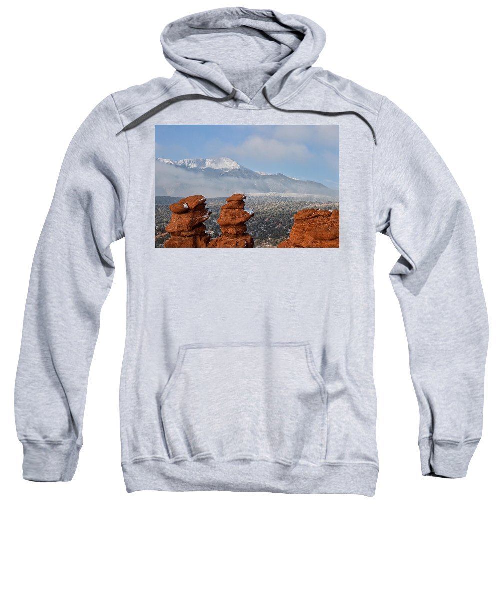Garden Of The Gods Sweatshirt featuring the photograph Pikes Peak In The Clouds by Ronda Kimbrow