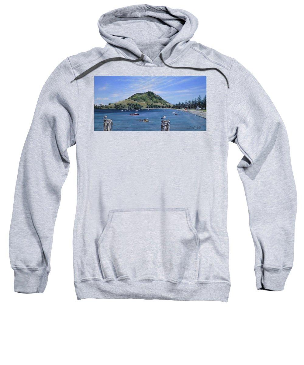 Beach Sweatshirt featuring the painting Pilot Bay Mt M 291209 by Sylvia Kula