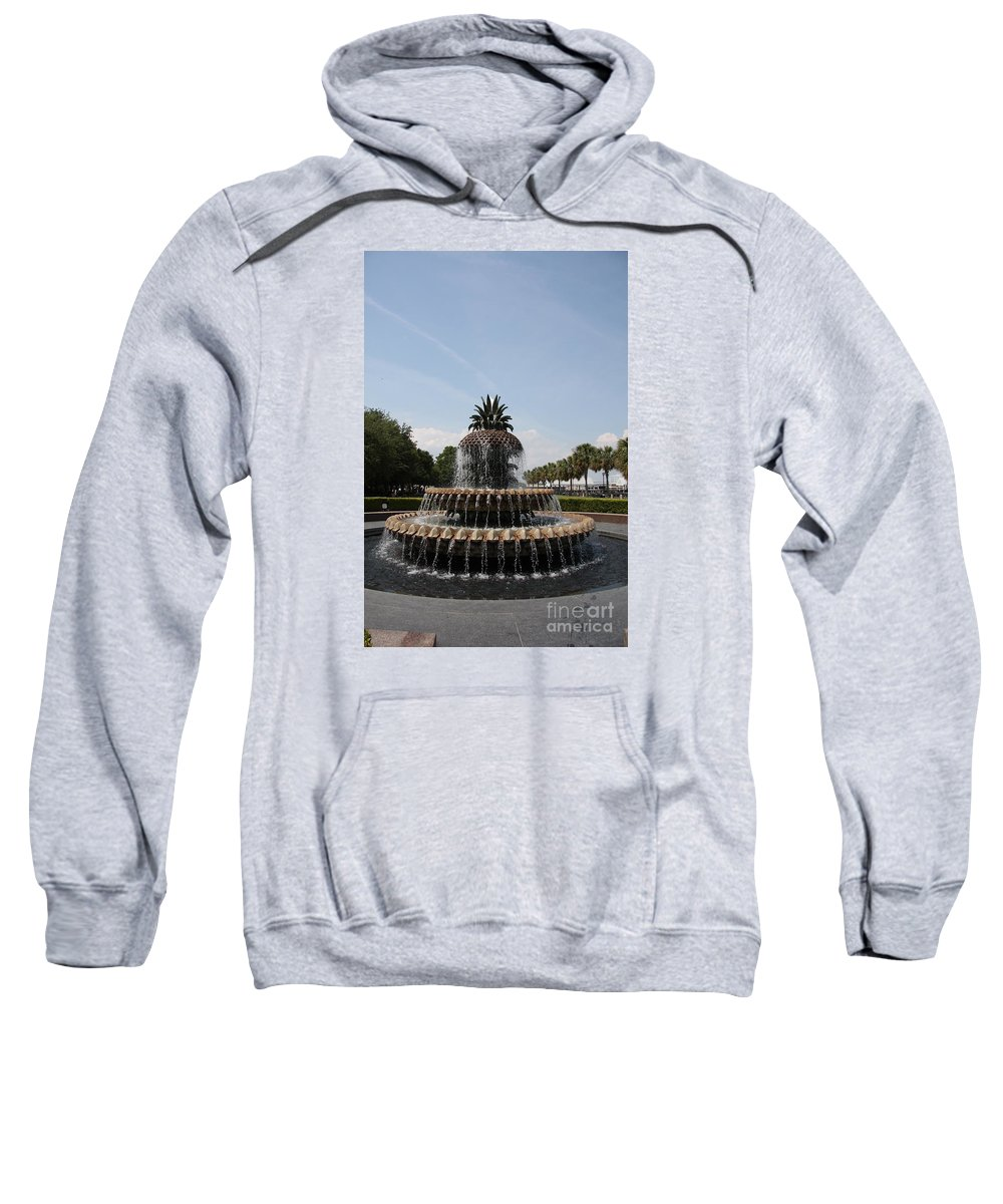 Pineapple Sweatshirt featuring the photograph Pineapple Fountain Charleston by Christiane Schulze Art And Photography