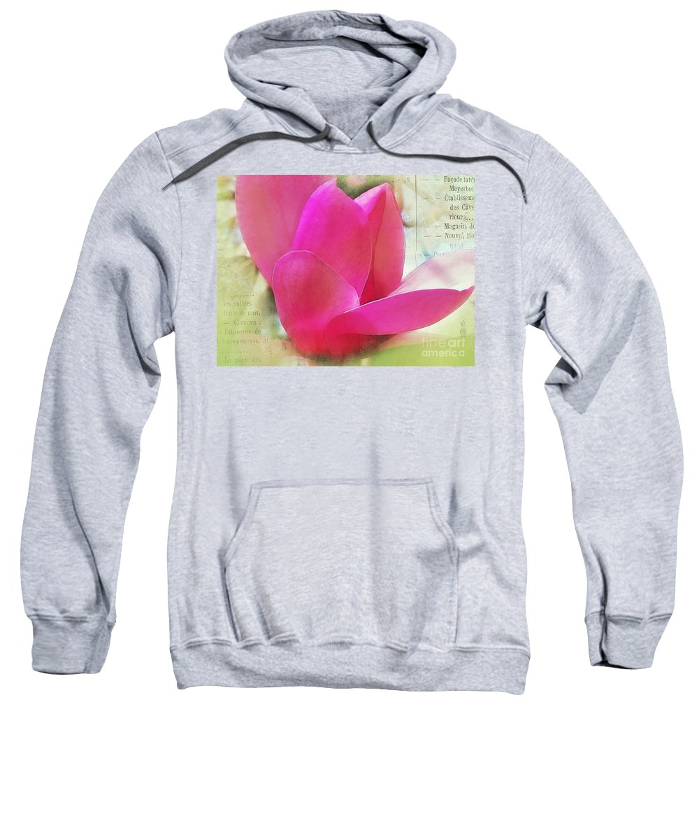 Magnolia Sweatshirt featuring the photograph Pink And Green by Judi Bagwell