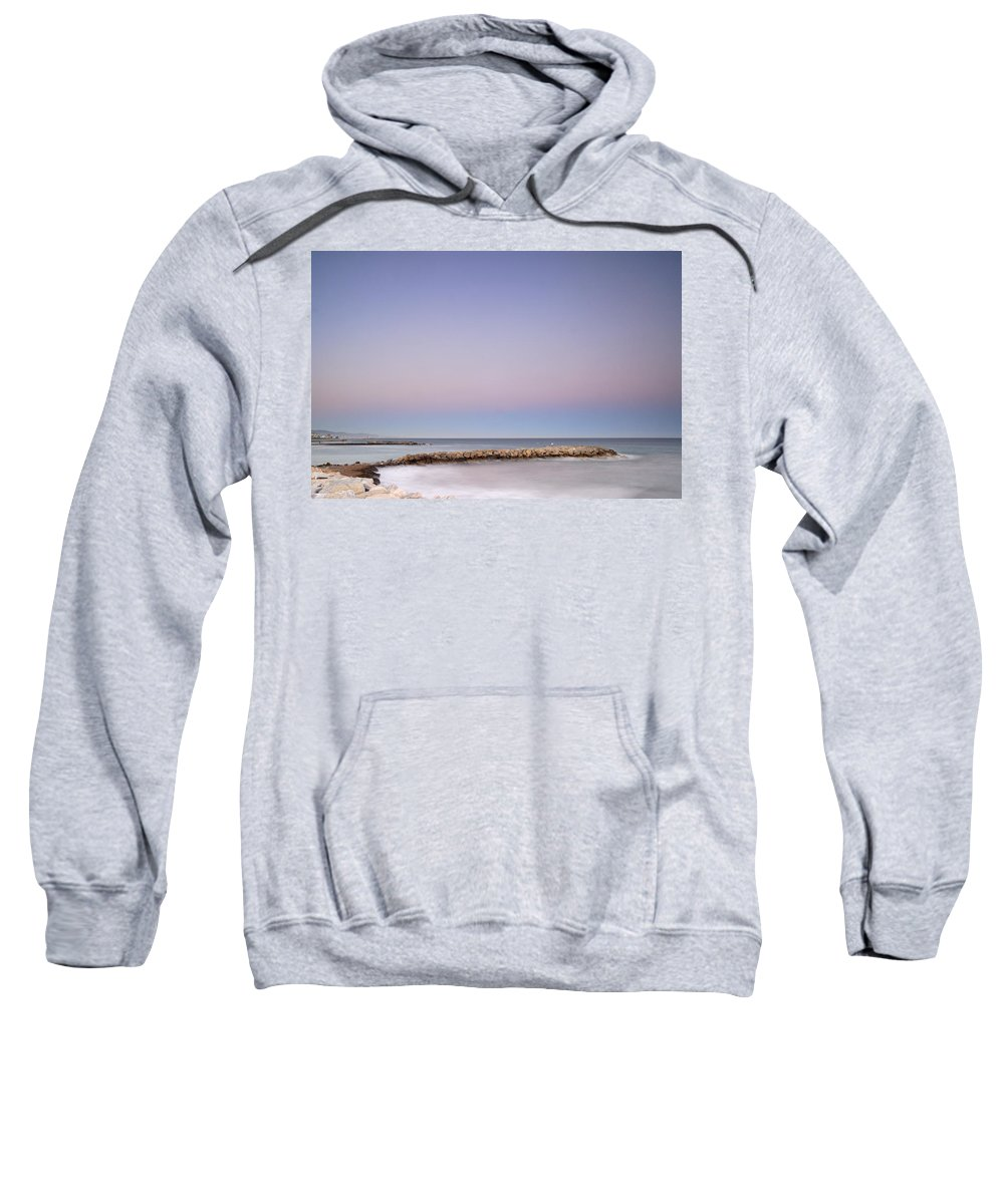 Seascape Sweatshirt featuring the photograph Pink Blue Sunset Over Banus by Guido Montanes Castillo
