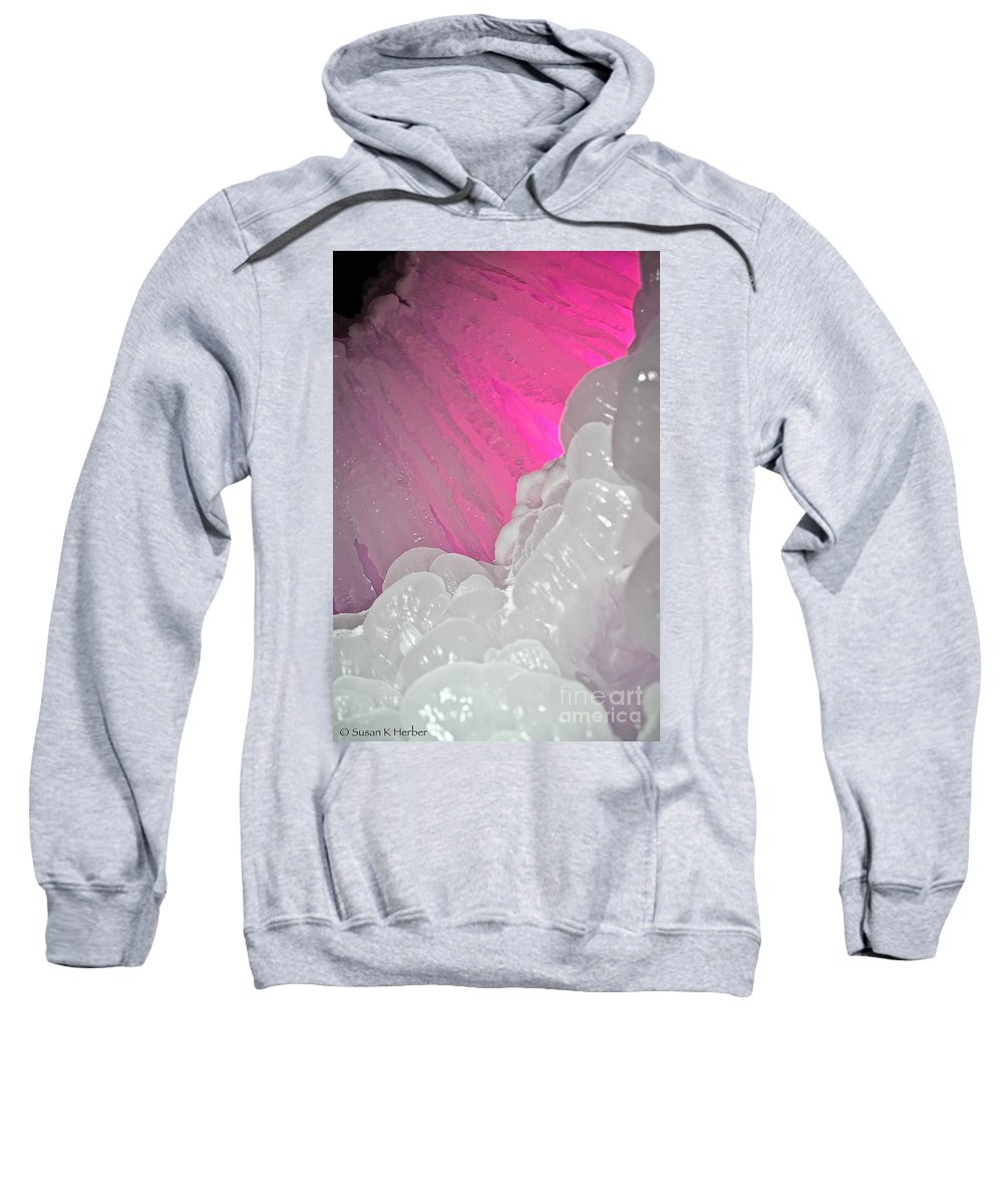 Ice Sweatshirt featuring the photograph Pink Eye Ice by Susan Herber