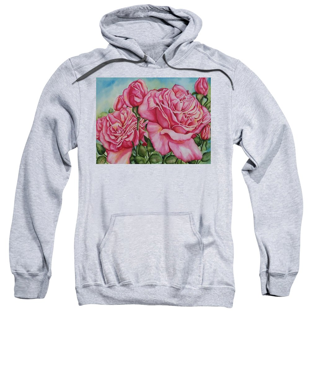 Rose Sweatshirt featuring the painting Pink Frillies by Conni Reinecke