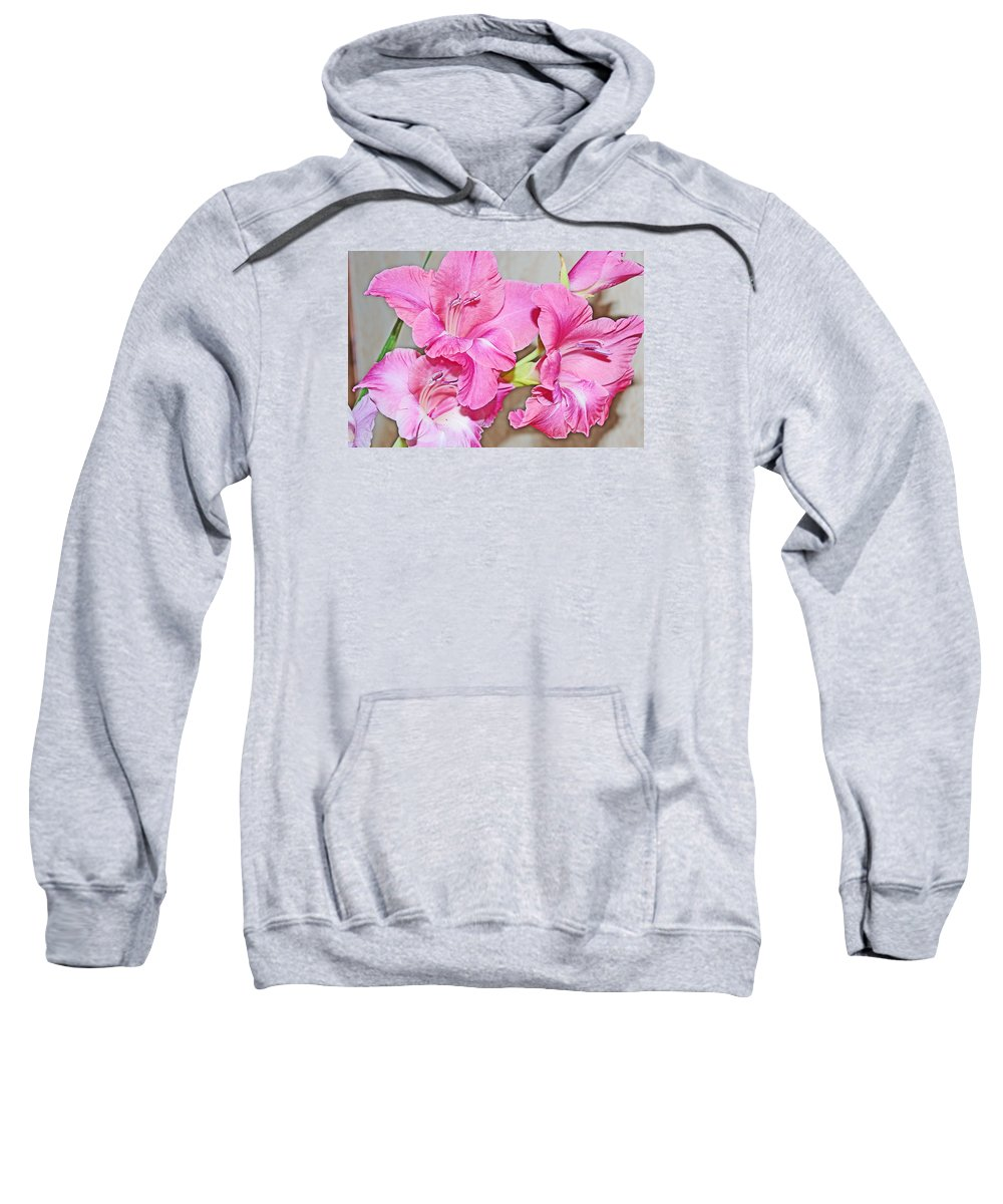Floral Sweatshirt featuring the photograph Pink Gladiolas by Mike and Sharon Mathews