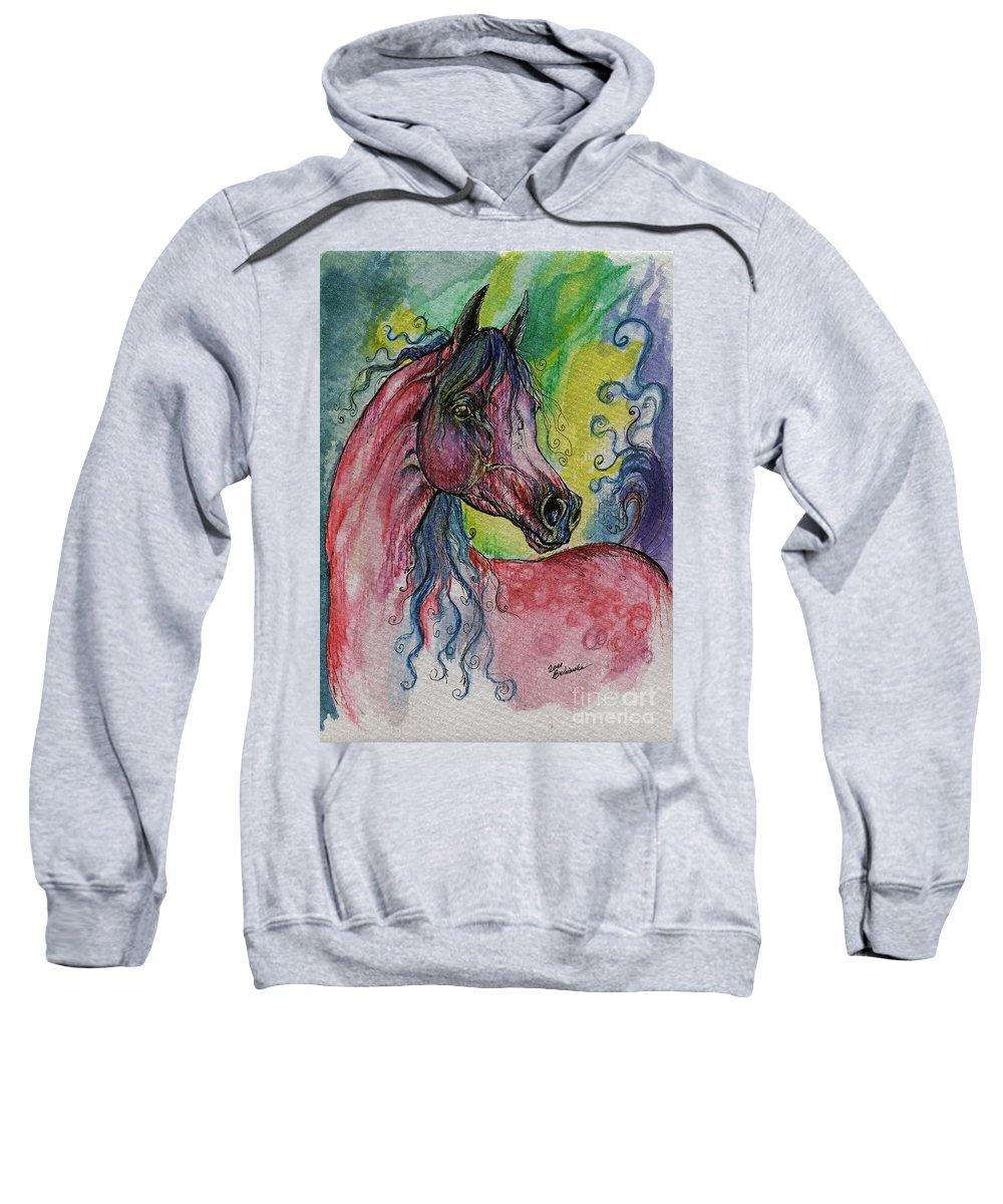 Fairytale Sweatshirt featuring the painting Pink Horse With Blue Mane by Angel Ciesniarska