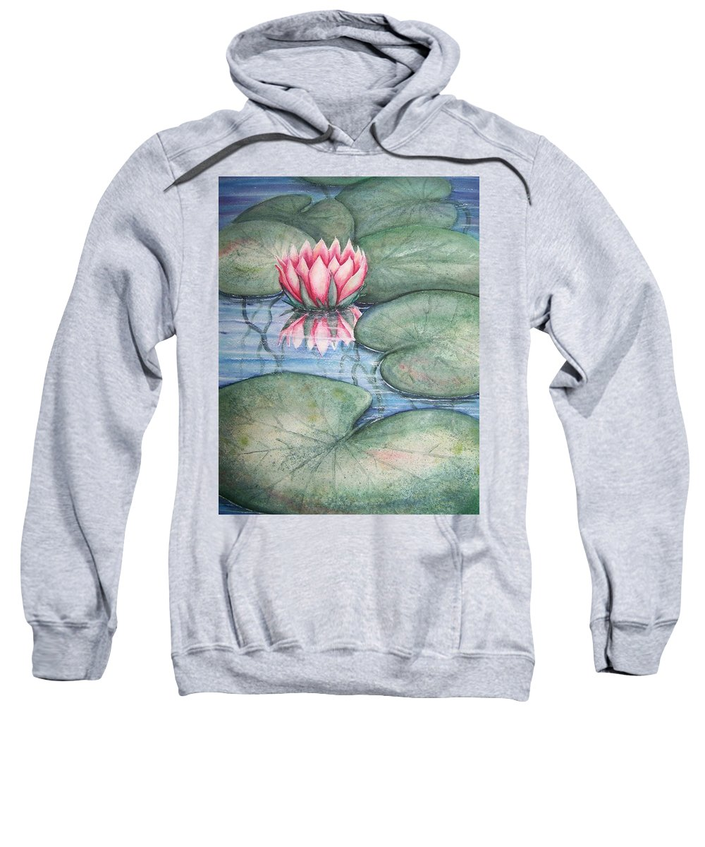 Pond Sweatshirt featuring the painting Pink Lily by Conni Reinecke