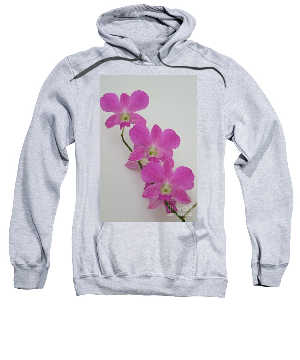 Pink Sweatshirt featuring the photograph Pink Orchids 1 by Mary Deal