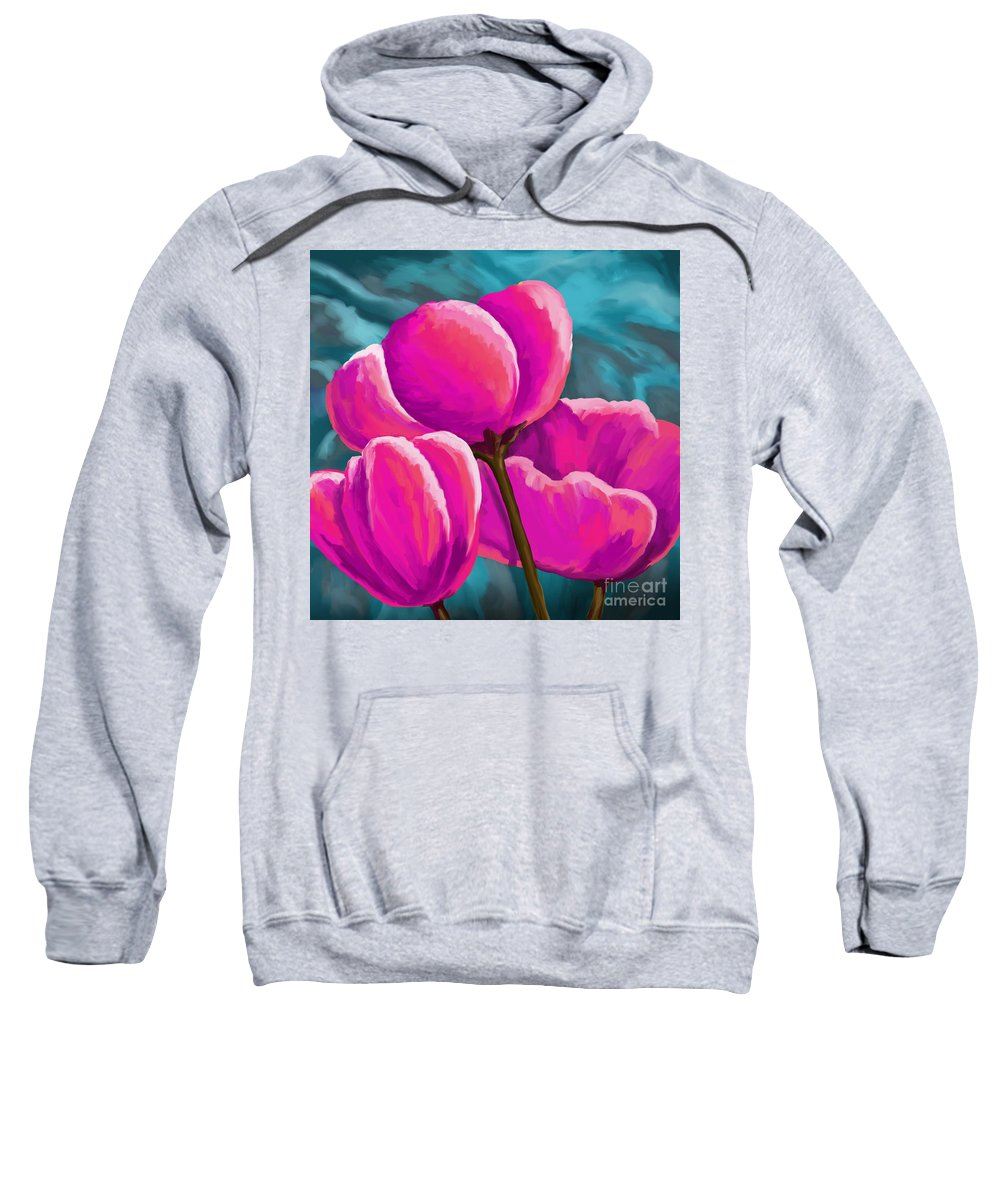 Tulips Sweatshirt featuring the painting Pink Tulips On Teal by Tim Gilliland