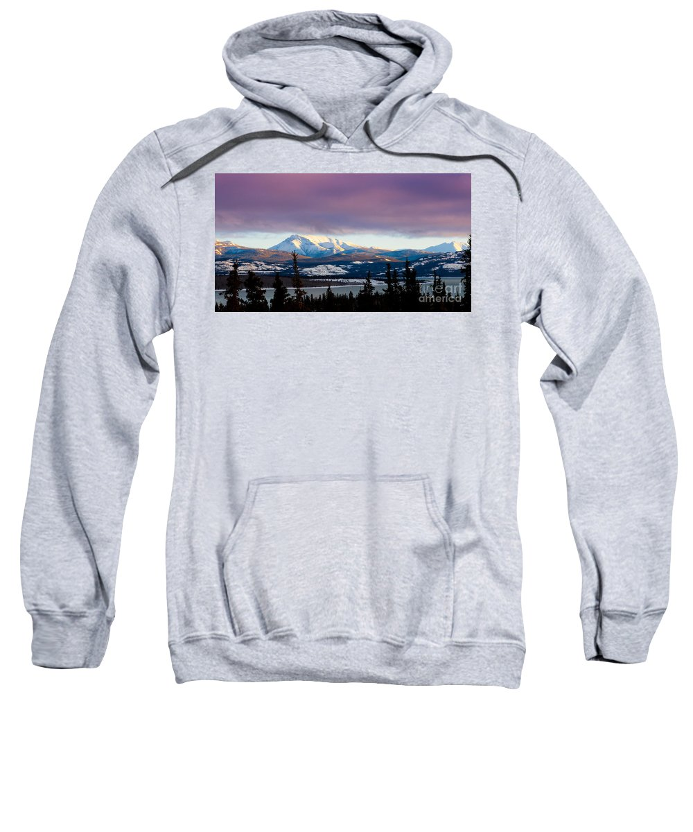 Blue Sweatshirt featuring the photograph Pink Winter Clouds by Stephan Pietzko