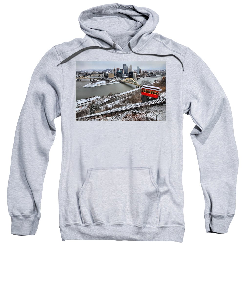 Duquesne Incline Sweatshirt featuring the photograph Pittsburgh Duquesne Incline Winter by Adam Jewell