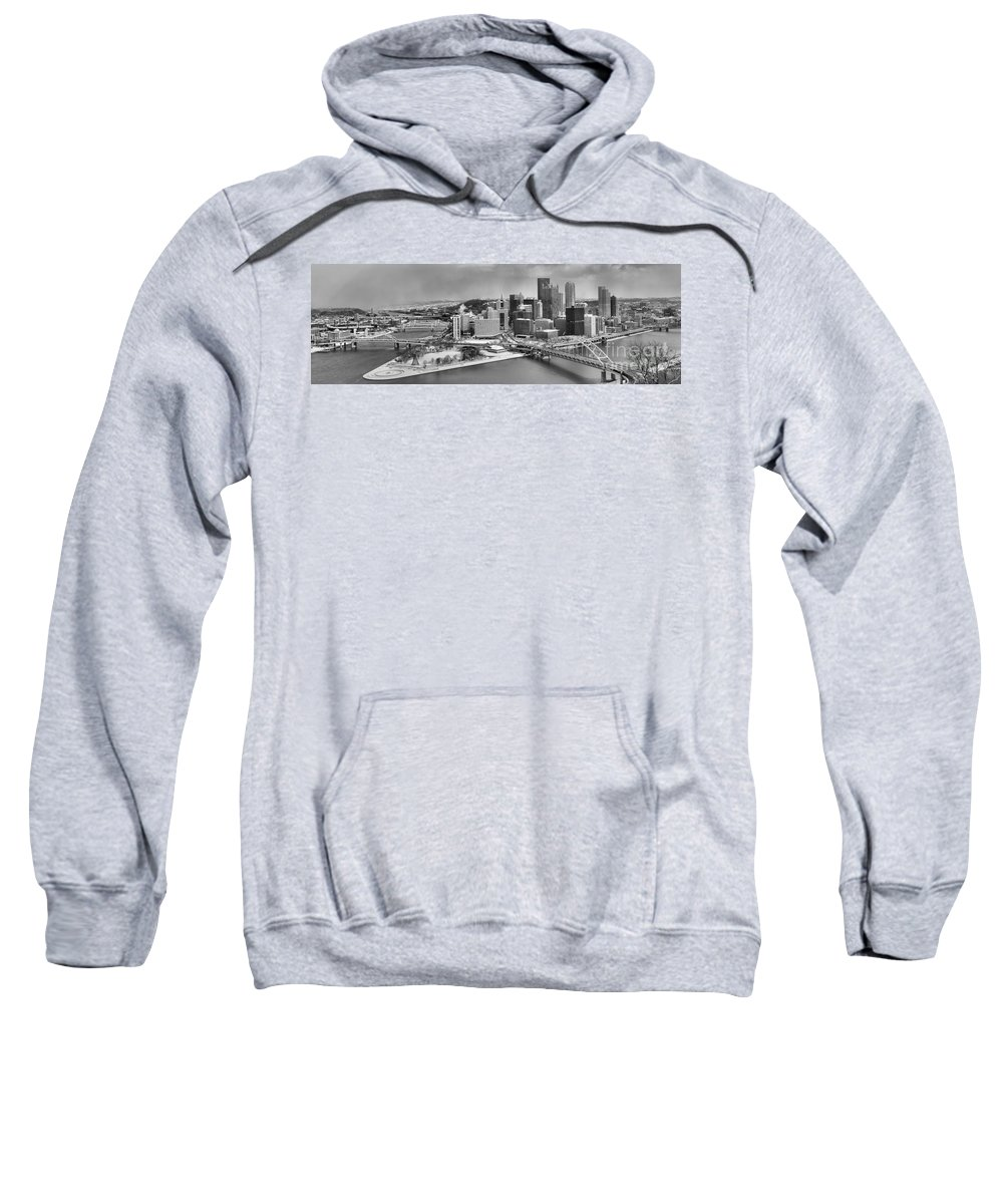 Black And White Sweatshirt featuring the photograph Pittsburgh Black And White Winter Panorama by Adam Jewell