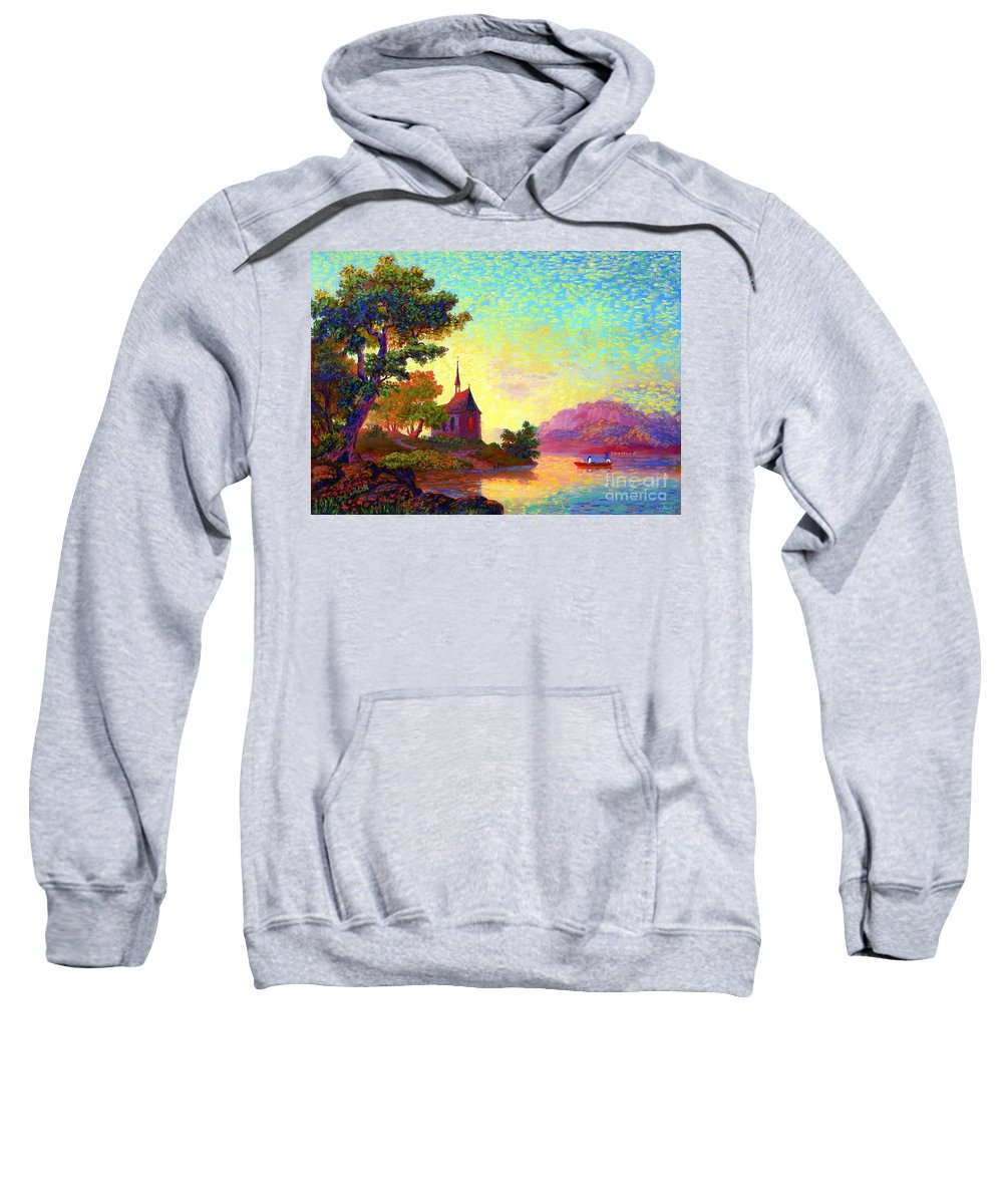 Church Sweatshirt featuring the painting Beautiful Church, Place Of Welcome by Jane Small