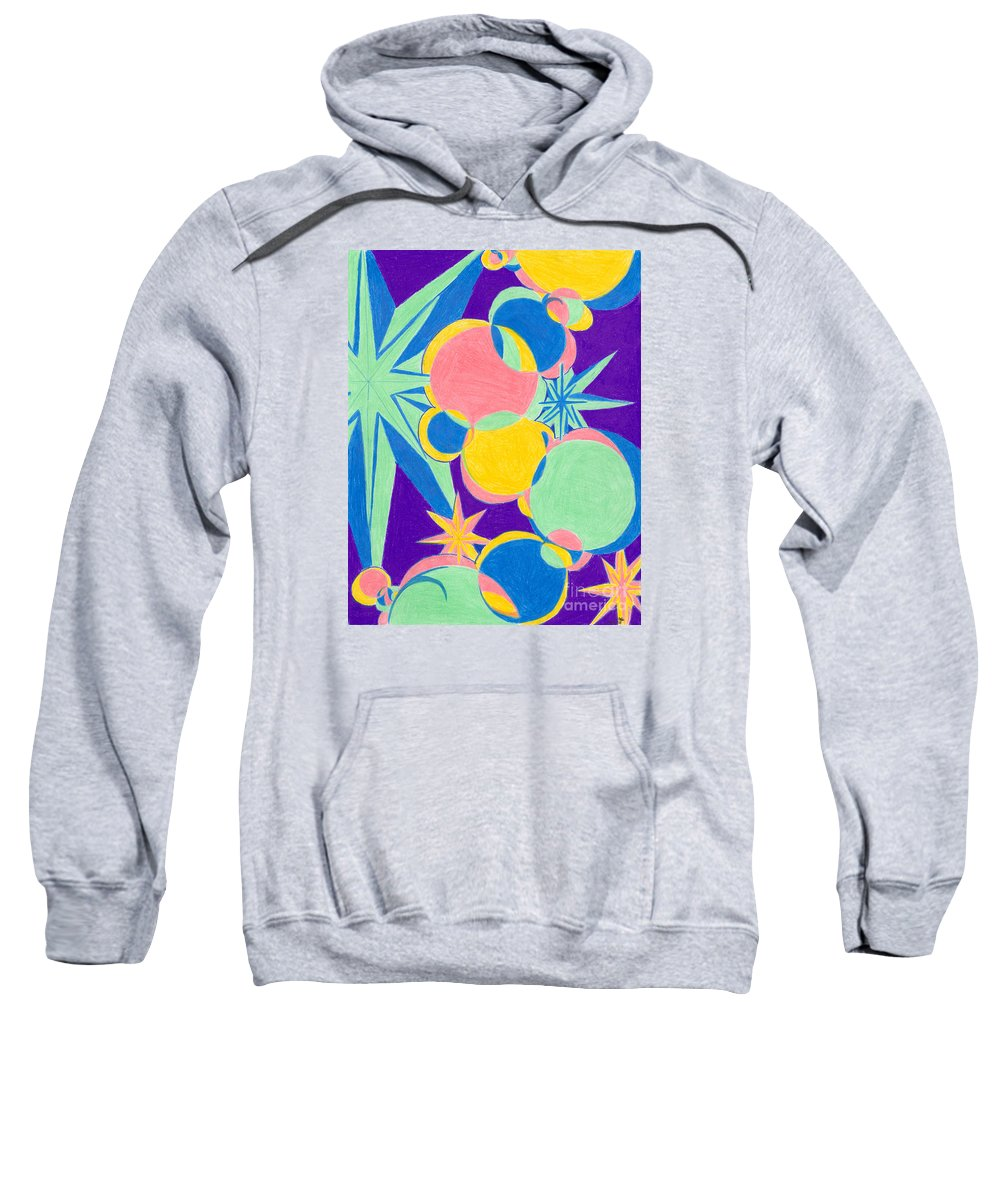 Color Sweatshirt featuring the drawing Planets And Stars by Kim Sy Ok